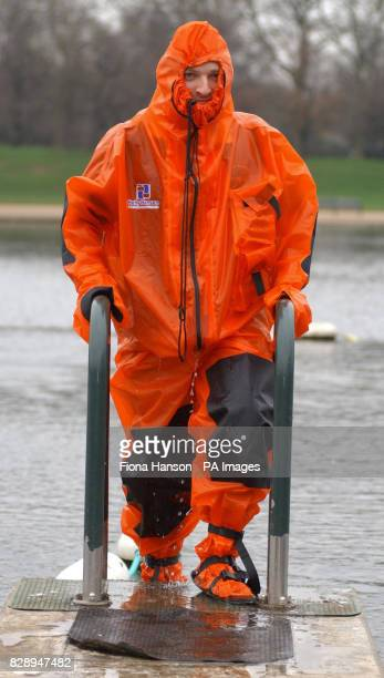 British polar explorer Ben Saunders wearing a specially designed drysuit which he will take with him when he attempts to become the first and...