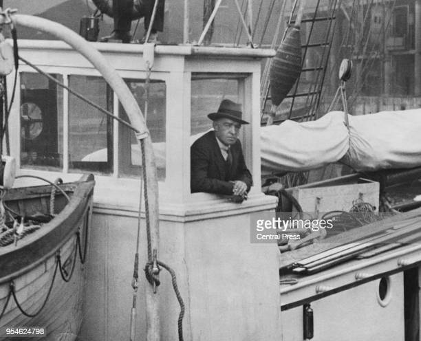 British polar explorer Sir Ernest Shackleton leaves London on the converted Norwegian sealer 'Quest' on his final voyage to the Antarctic with the...
