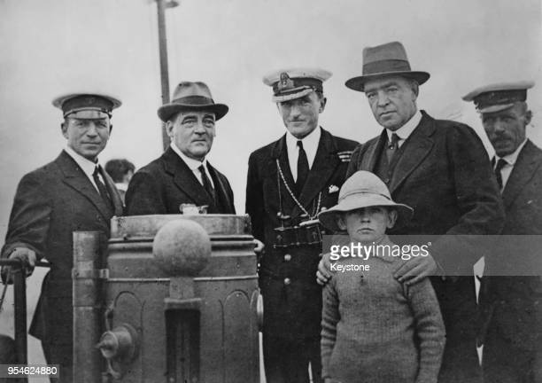 British polar explorer Sir Ernest Shackleton on board the converted Norwegian sealer 'Quest' before his final voyage to the Antarctic with the...