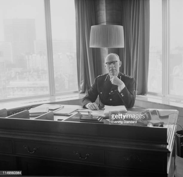 British police officer John Waldron , Commissioner of the London Metropolitan Police, in his office, UK, 20th February 1970.