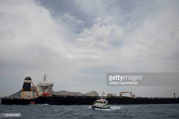 British Police ship patrols near supertanker Grace 1 off the coast of Gibraltar on July 6, 2019. - Iran demanded on July 5, 2019 that Britain...