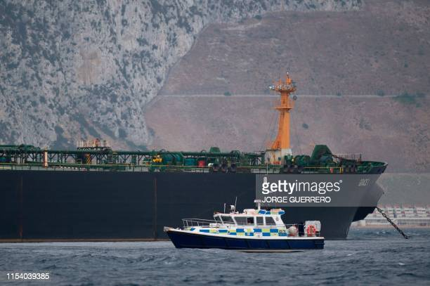 A British Police ship patrols near supertanker Grace 1 off the coast of Gibraltar on July 6 2019 Iran demanded on July 5 2019 that Britain...