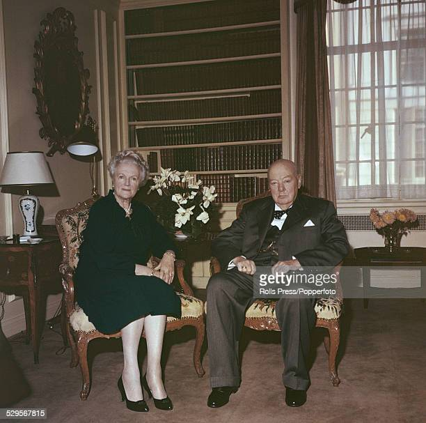 British politician and ex Prime Minister Winston Churchill pictured with his wife Clementine Churchill at home in London on 11th April 1960