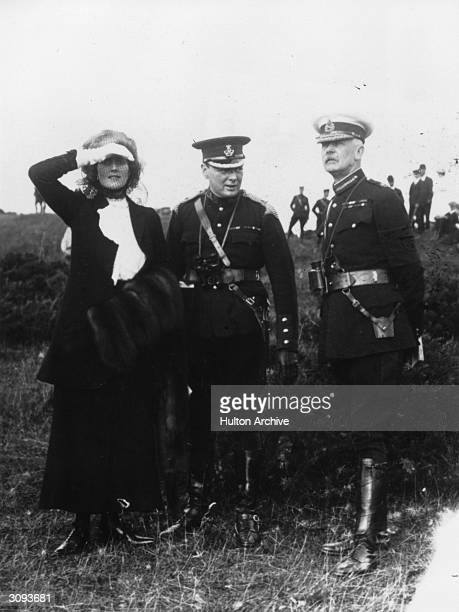 British politician and First Lord of the Admiralty Winston Churchill with Mrs Churchill and General Bruce Hamilton during army manoeuvres on...