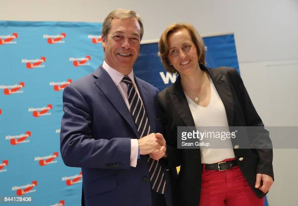 British politician and former UKIP leader Nigel Farage and AfD leading member Beatrix von Storch arrive at an event held by the German rightwing...
