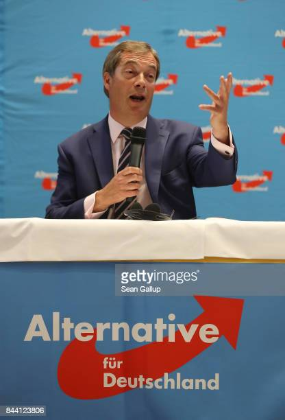 British politician and former UKIP leader Nigel Farage speaks at an event held by the German rightwing populist Alternative for Germany political...