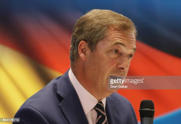 British politician and former UKIP leader Nigel Farage speaks in front of a German flag at an event held by the German rightwing populist Alternative...