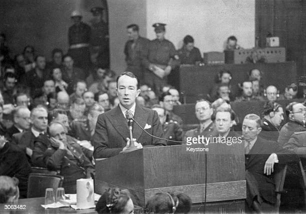 British politician and lawyer Sir Hartley Shawcross putting the case for the prosecution at the trial of 20 Nazi leaders at Nuremberg.
