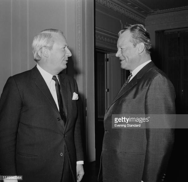 British politician and Leader of the Conservative Party Edward Heath and German politician Willy Brandt Leader of the Social Democratic Party of...