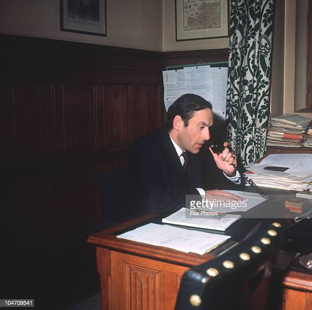 British politician and leader of the Liberal Party at work in his office at the Houses of Parliament in London England in February 1970