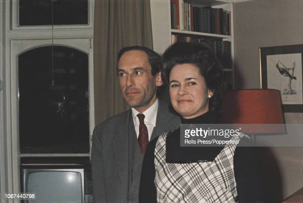 British politician and Leader of the Liberal Party Jeremy Thorpe pictured with Marion Stein after the announcement of their engagement in London on...
