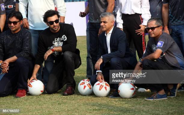 British politician and Mayor of London Sadiq Khan and Indian actor Ranbir Kapoor pose for a photo during the 9th 'QPR South Mumbai Junior Soccer...