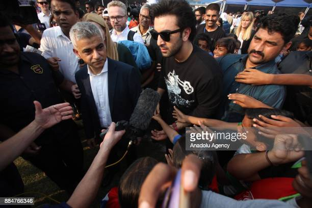 British politician and Mayor of London Sadiq Khan and Indian actor Ranbir Kapoor attend the 9th 'QPR South Mumbai Junior Soccer Challenger 2017'...