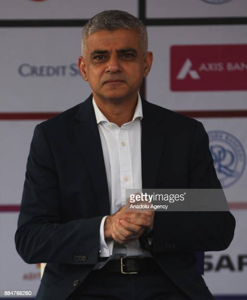 British politician and Mayor of London Sadiq Khan attends the 9th 'QPR South Mumbai Junior Soccer Challenger 2017' event in Mumbai India on December...