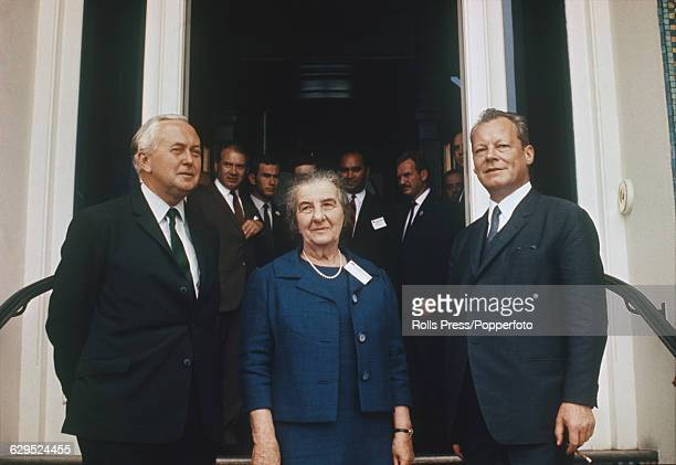 British politician and Prime Minister of the United Kingdom Harold Wilson pictured left with Prime Minister of Israel Golda Meir in centre and on...
