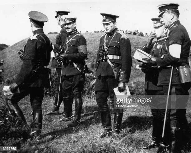 British politician and prime minister Winston Churchill on British army manoeuvres on Salisbury Plain