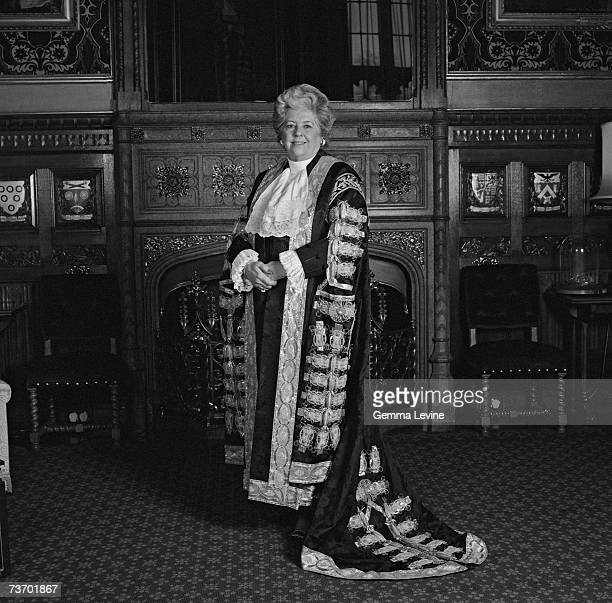 British politician Betty Boothroyd in her Speaker of the House of Commons robes circa 1995