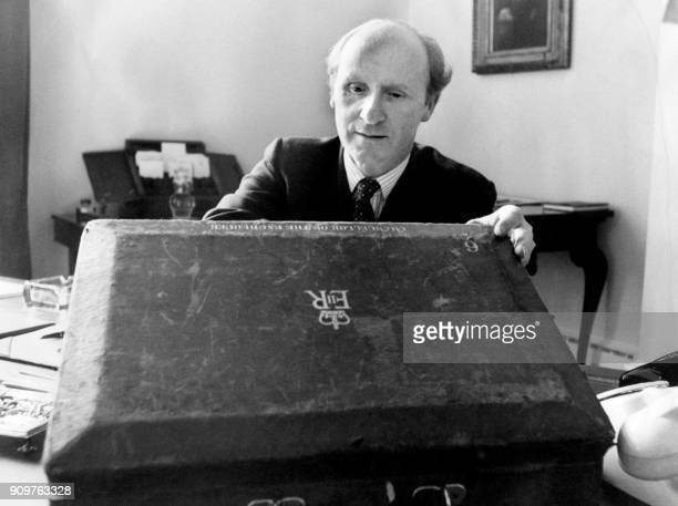 British politician Chancellor of the Exchequer Anthony Barber prepares his annual budget proposals at the Treasury on March 23 1971 in London / AFP...
