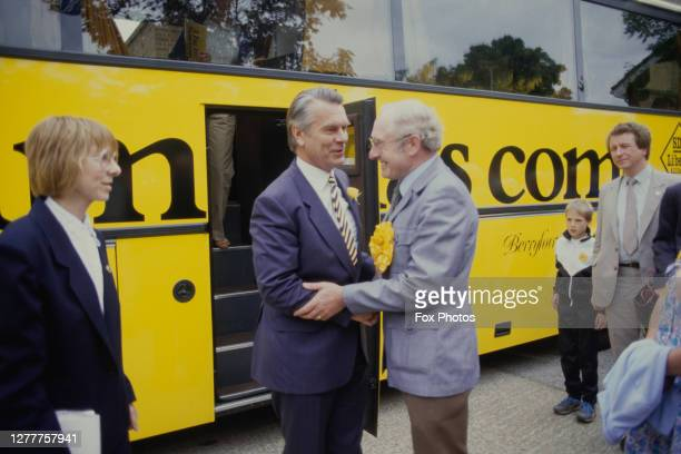 British politician David Owen, leader of the Social Democratic Party, visits the Carshalton Technical College in London during the general election,...