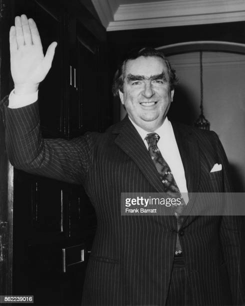 British politician Denis Healey the Chancellor of the Exchequer leaves 11 Downing Street for the House of Commons 21st February 1977 He is missing...