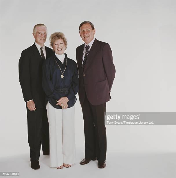 British politician diplomat and broadcaster John Freeman Canadianborn actress Barbara Kelly and BBC football commentator Kenneth Wolstenholme circa...