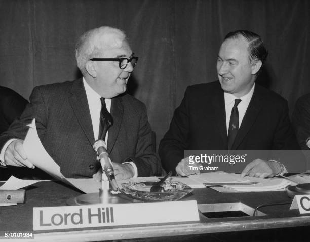 British politician doctor and television executive Charles Hill Baron Hill of Luton chairman of the BBC Governors and Charles Curran DirectorGeneral...