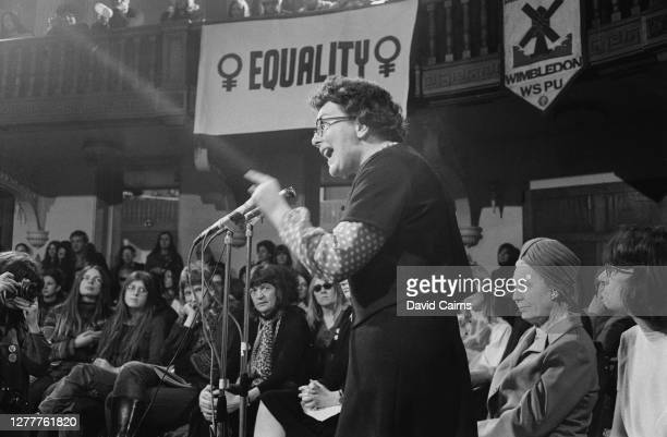 British politician Edith Summerskill, Baroness Summerskill addresses a Women's Liberation Movement rally at Caxton Hall in London, UK, 2nd February...