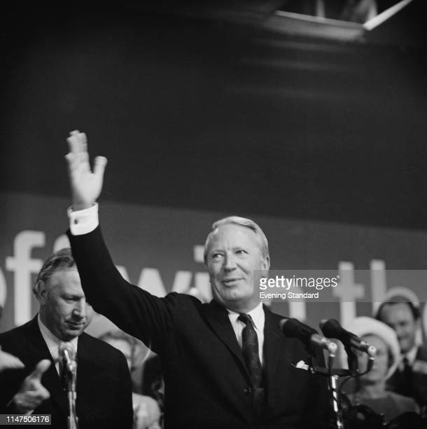 British politician Edward Heath , Leader of the Conservative Party, at the Conservative Party annual conference in Brighton, UK, 10th October 1969.