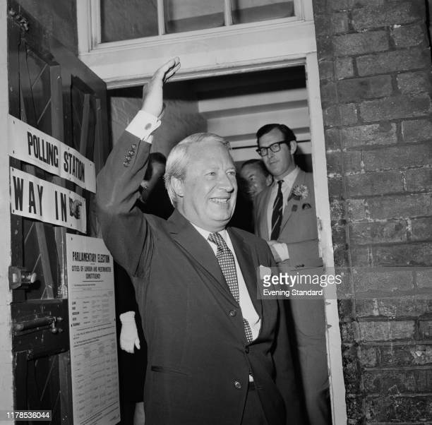 British politician Edward Heath Leader of the Conservative Party at the St James and St Peter's School in Soho after casting his vote at the polls...