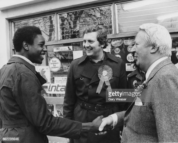 British politician Edward Heath visits Lambeth Central to support Conservative candidate Jeremy Hanley in the upcoming byelection London 19th April...
