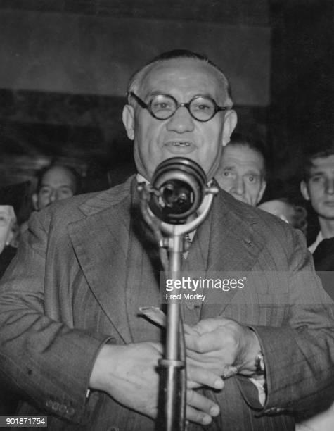 British politician Ernest Bevin speaking at Wandsworth Town Hall in London after a successful return as MP for Wandsworth Central 26th July 1945