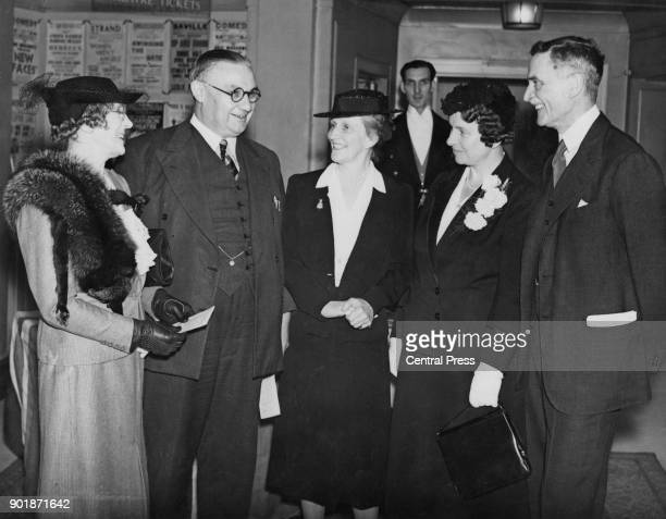 British politician Ernest Bevin , the Minister of Labour and National Service, is the guest at a luncheon hosted by the British Federation of...