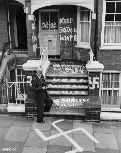 British politician Fenner Brockway the Labour MP for Eton and Slough and chairman of the Movement for Colonial Freedom after racist graffiti was...