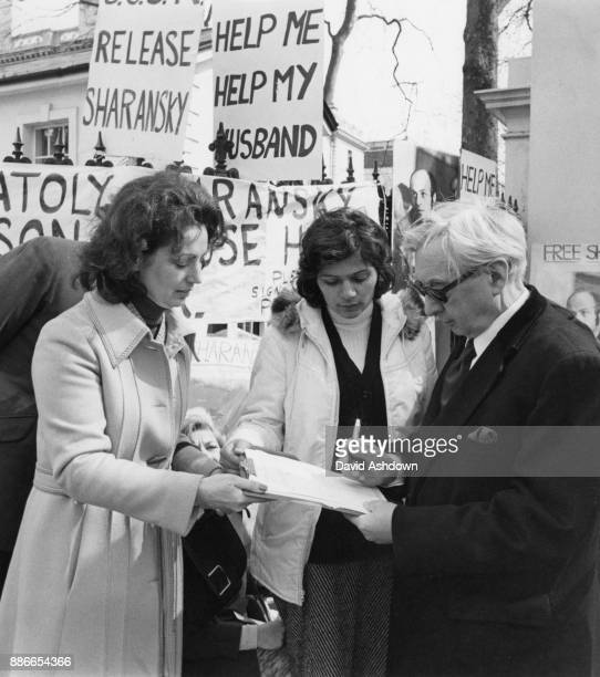 British politician George Brown Baron GeorgeBrown former Deputy Leader of the Labour Party signs a petition outside the Russian Embassy in London...