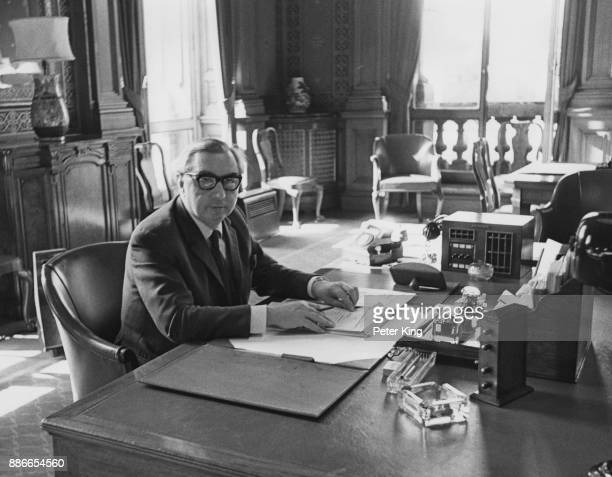 British politician George Brown takes up his new appointment as Foreign Secretary at the Foreign Office in Whitehall London 12th August 1966