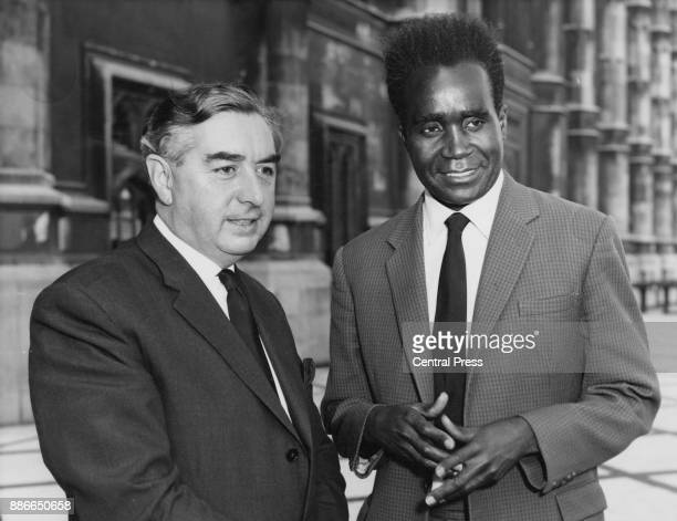 British politician George Brown the Deputy Leader of the Labour Party with Kenneth Kaunda leader of the Rhodesian United National Independence Party...