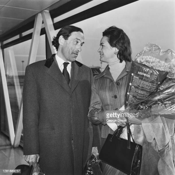 British politician Jeremy Thorpe , the Leader of the Liberal Party, at London Airport with his wife, pianist Marion Stein , after their honeymoon,...