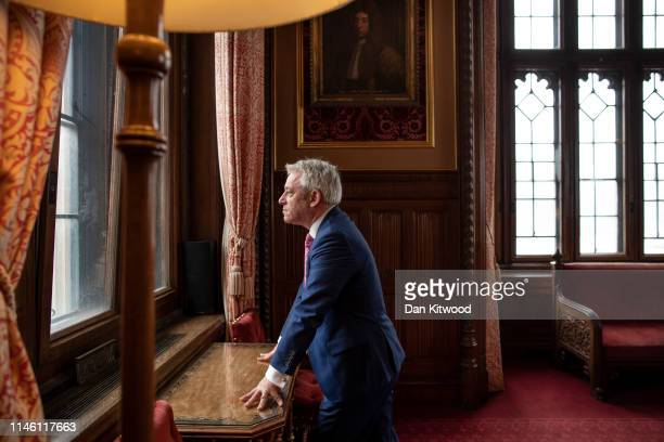 British politician John Bercow MP Speaker of the House of Commons poses for a portrait inside the House of Commons on May 24 2019 in London England
