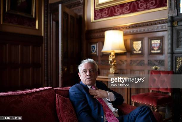 British politician John Bercow MP Speaker of the House of Commons conducts an interview inside the House of Commons on May 24 2019 in London England