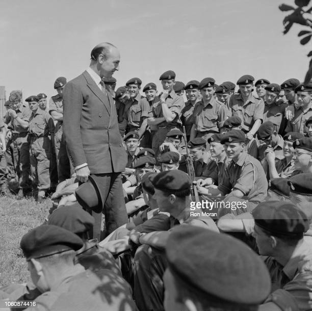 British politician John Profumo Secretary of State for War talking to the 19th Brigade Royal Fusiliers UK 6th July 1961