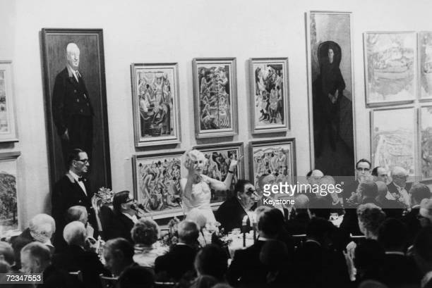 British politician Lady Violet Bonham Carter Baroness Asquith addresses members of the Royal Academy of Arts during their annual dinner in London...