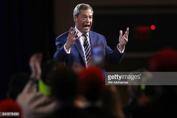British politician Nigel Farage addresses the Conservative Political Action Conference at the Gaylord National Resort and Convention Center February...