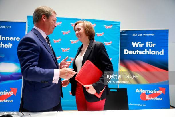 British politician Nigel Farage former leader of the UK Independance Party and deputy party leader of the AFD Beatrix von Storch speak after a press...