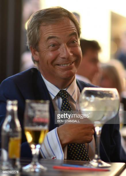 British politician Nigel Farage gestures at The Beer Factory Bar in Brussels on June 28 as he watches the Russia 2018 World Cup Group G football...