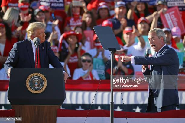 British politician Nigel Farage praises U.S. President Donald Trump during a campaign rally at Phoenix Goodyear Airport October 28, 2020 in Goodyear,...