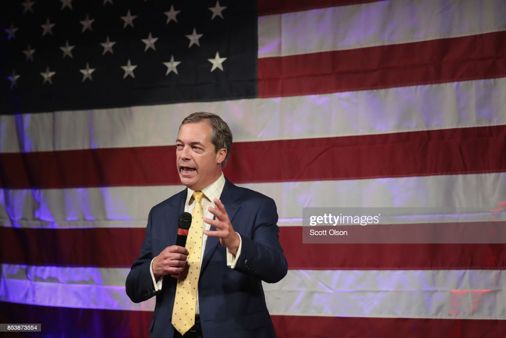 British politician Nigel Farage speaks at a campaign event for Republican candidate for the U.S. Senate in Alabama Roy Moore on September 25, 2017 in Fairhope, Alabama. Moore is running in a primary runoff election against incumbent Luther Strange for the seat vacated when Jeff Sessions was appointed U.S. Attorney General by President Donald Trump. The runoff election is scheduled for September 26.