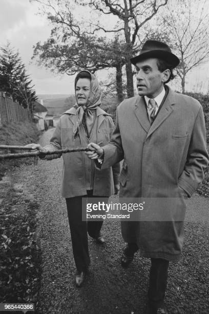British politician of the Liberal Party Jeremy Thorpe with his wife concert pianist Marion Stein taking a walk together UK 22nd January 1979