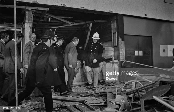 British politician Roy Jenkins visits the scene of one of the two pub bombings which hit the city on 21st November 1974, in Birmingham, West...