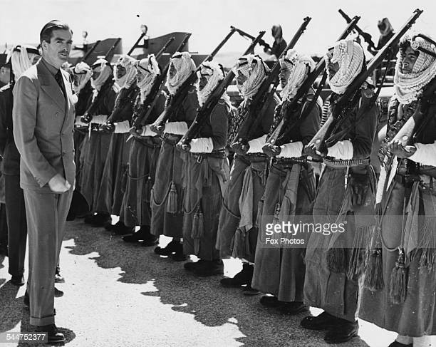 British politician Sir Anthony Eden inspecting a unit of the Arab Legion on a visit to Palestine November 11th 1940