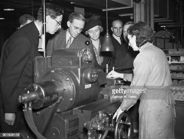 British politician Sir Stafford Cripps and Lady Cripps visit the Hoover Ltd aircraft factory in Greenford UK 5th November 1942